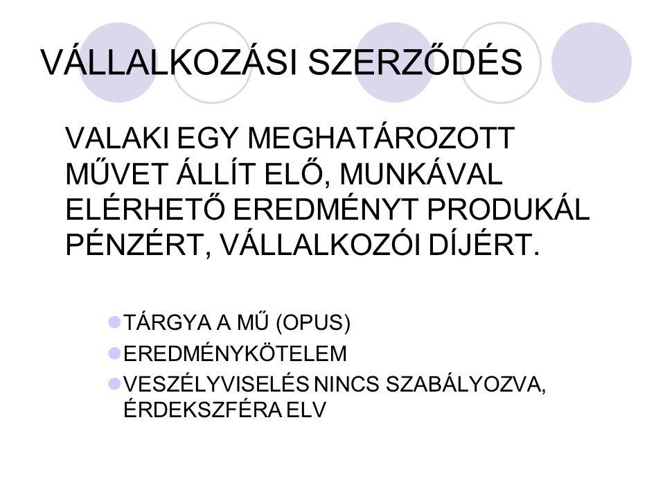 VÁLLALKOZÁSI SZERZŐDÉS
