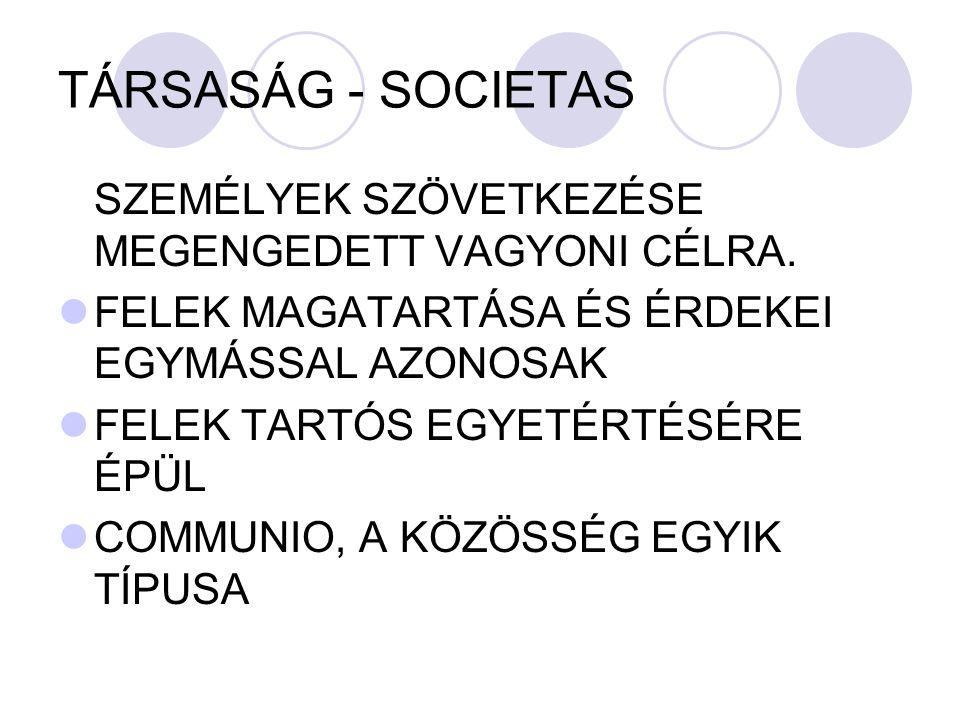 TÁRSASÁG - SOCIETAS SZEMÉLYEK SZÖVETKEZÉSE MEGENGEDETT VAGYONI CÉLRA.