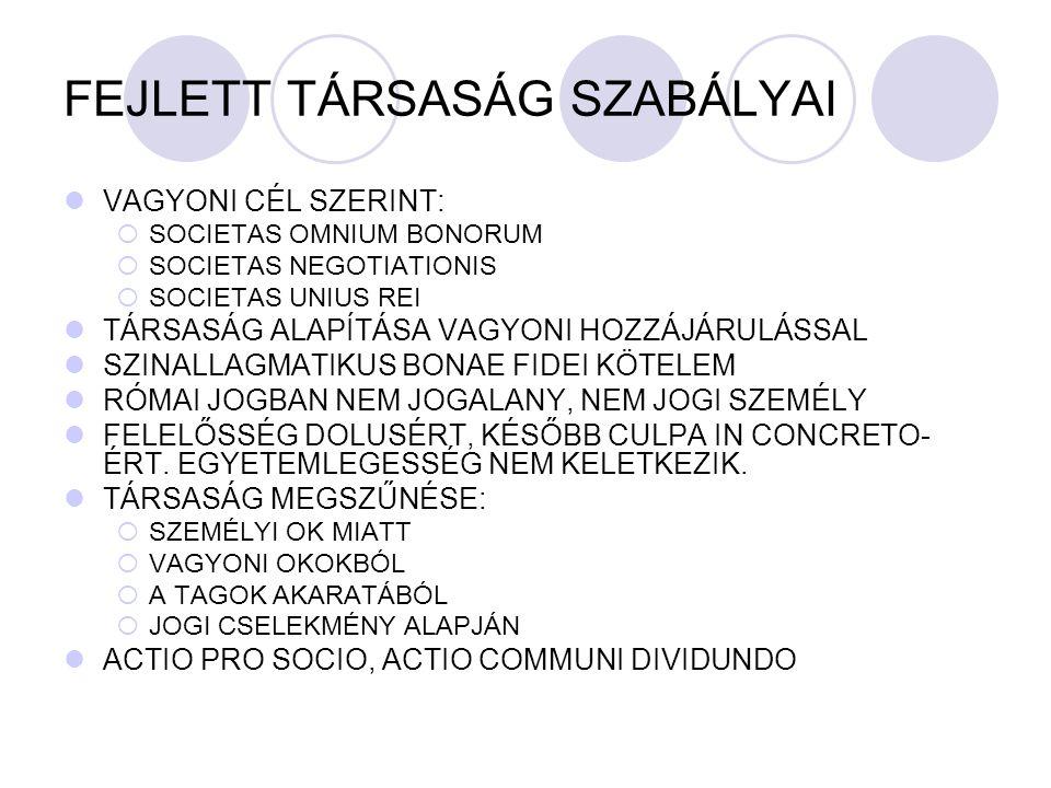 FEJLETT TÁRSASÁG SZABÁLYAI