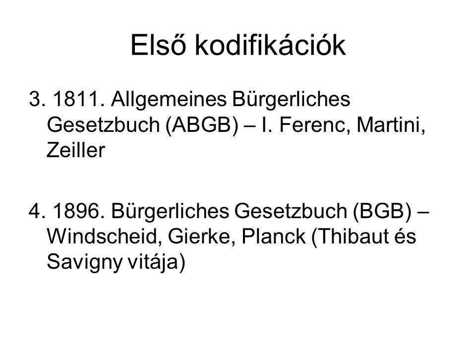 Első kodifikációk 3. 1811. Allgemeines Bürgerliches Gesetzbuch (ABGB) – I. Ferenc, Martini, Zeiller.