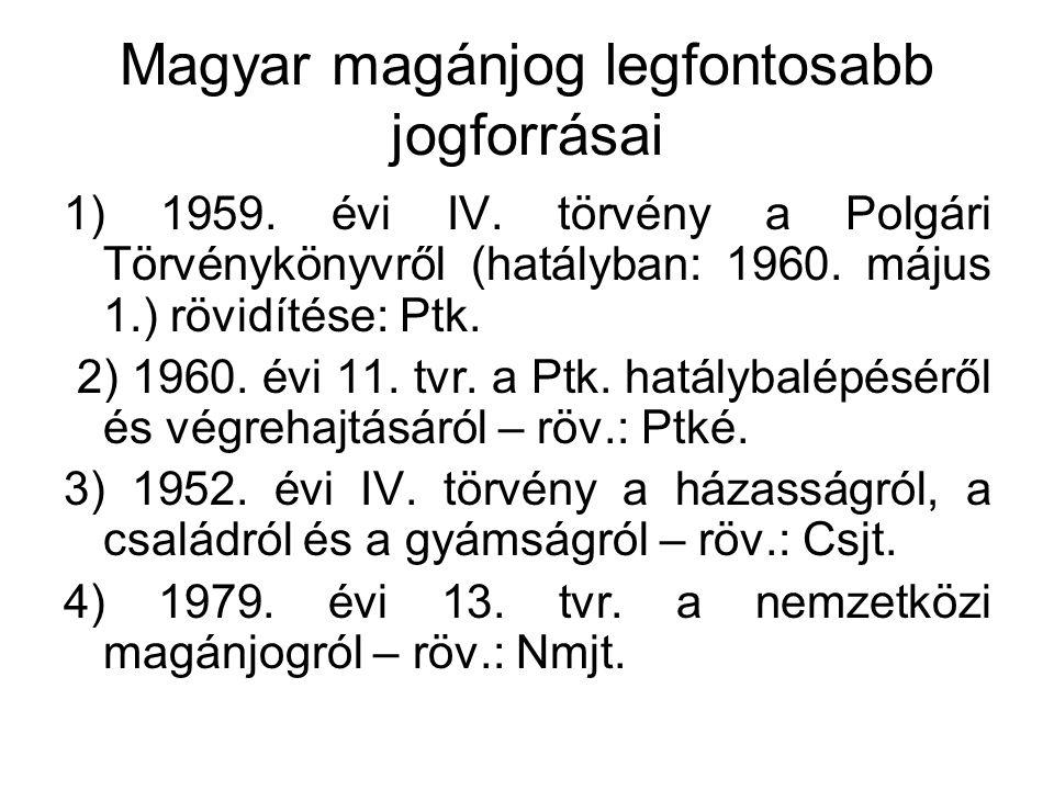Magyar magánjog legfontosabb jogforrásai