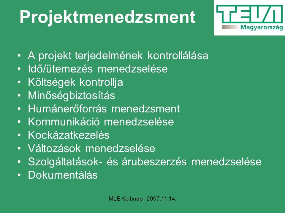 Projektmenedzsment A projekt terjedelmének kontrollálása