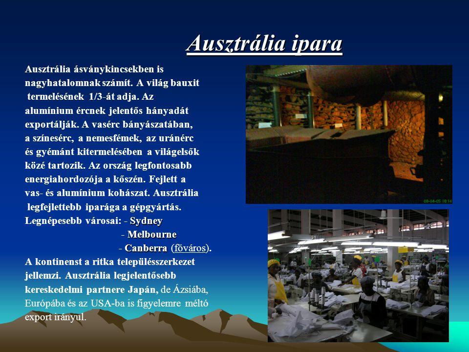 Ausztrália ipara Ausztrália ásványkincsekben is