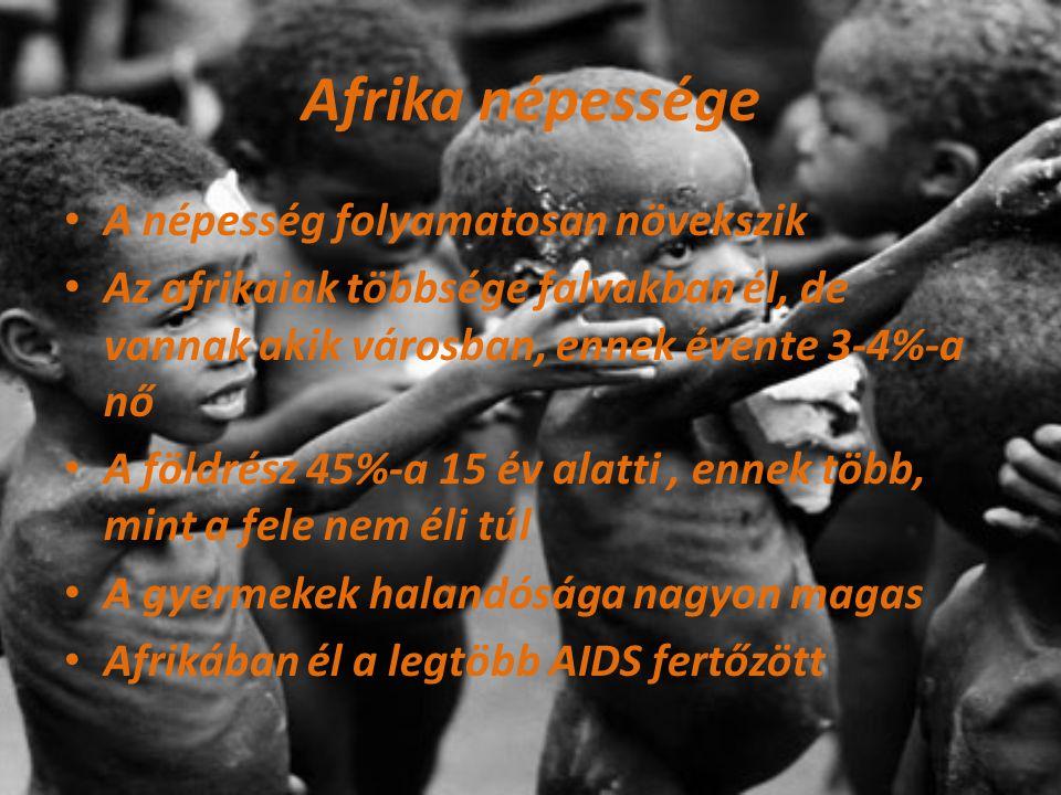 Afrika népessége A népesség folyamatosan növekszik