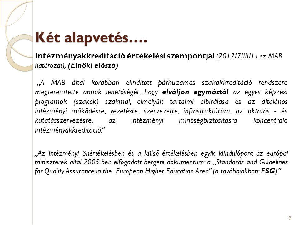 Két alapvetés…. Intézményakkreditáció értékelési szempontjai (2012/7/III/11.sz. MAB határozat), (Elnöki előszó)