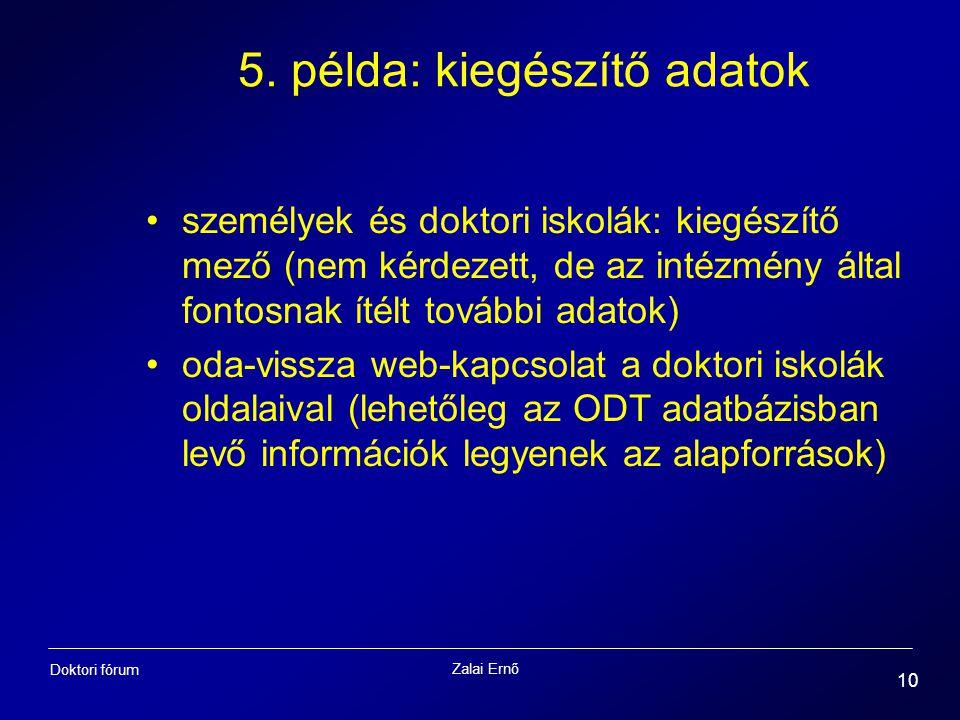 5. példa: kiegészítő adatok