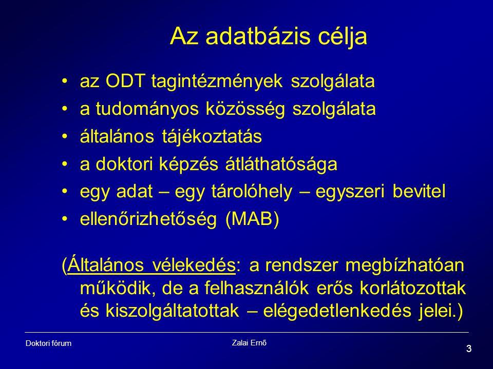 Az adatbázis célja az ODT tagintézmények szolgálata