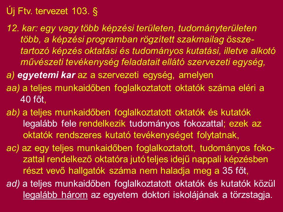 Új Ftv. tervezet 103. §
