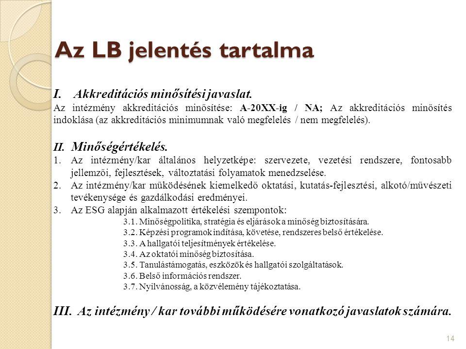 Az LB jelentés tartalma