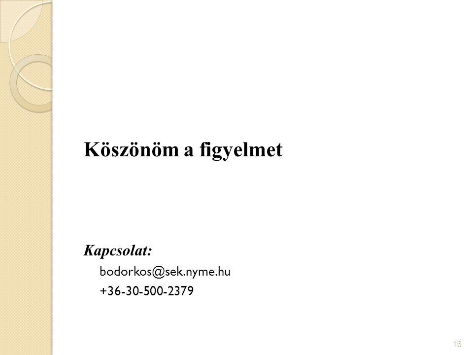Köszönöm a figyelmet Kapcsolat: bodorkos@sek.nyme.hu +36-30-500-2379