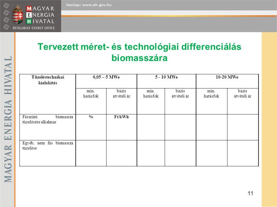 Tervezett méret- és technológiai differenciálás biomasszára