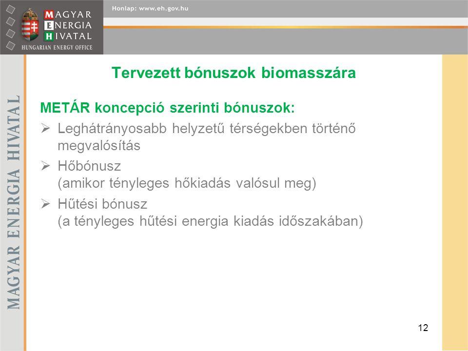 Tervezett bónuszok biomasszára