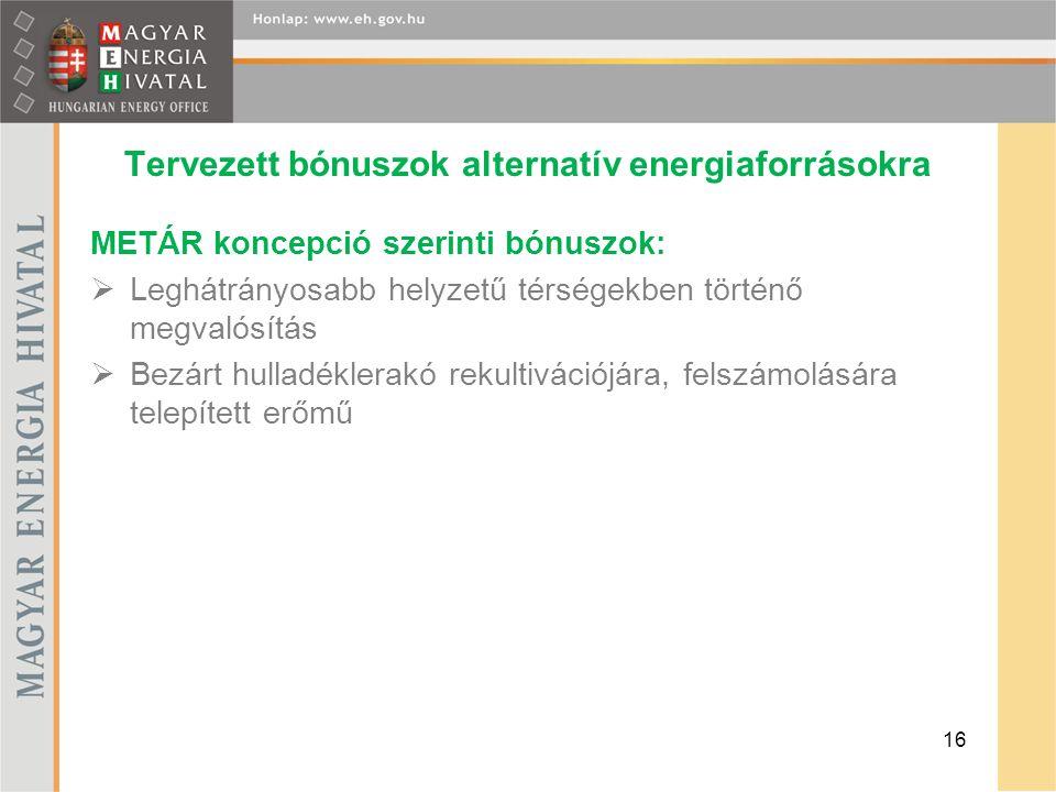 Tervezett bónuszok alternatív energiaforrásokra