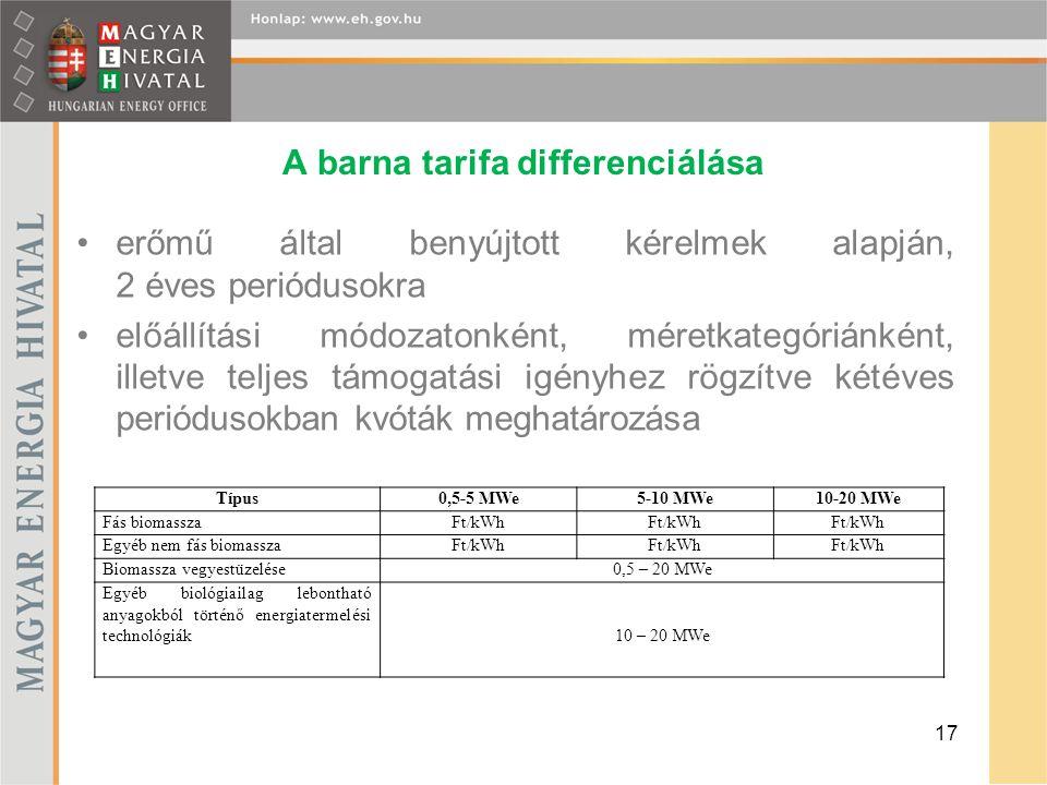 A barna tarifa differenciálása