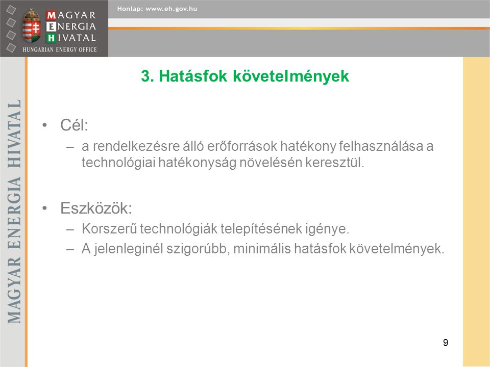 3. Hatásfok követelmények