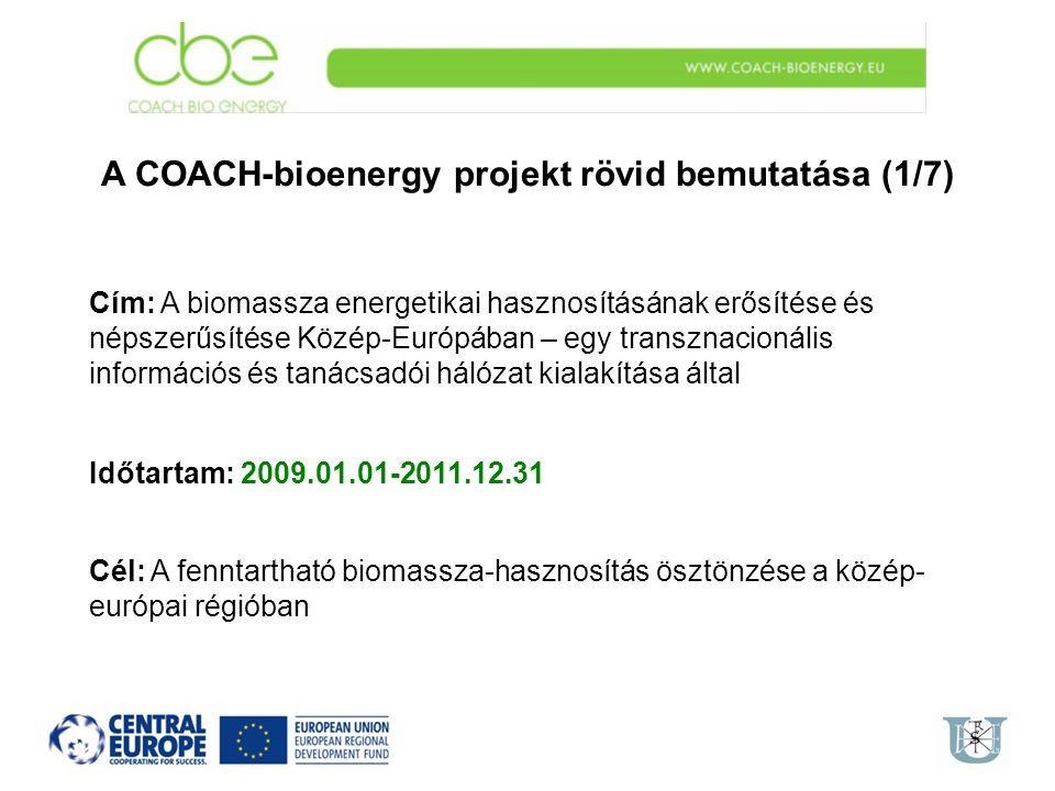 A COACH-bioenergy projekt rövid bemutatása (1/7)