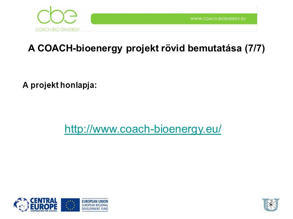 A COACH-bioenergy projekt rövid bemutatása (7/7)