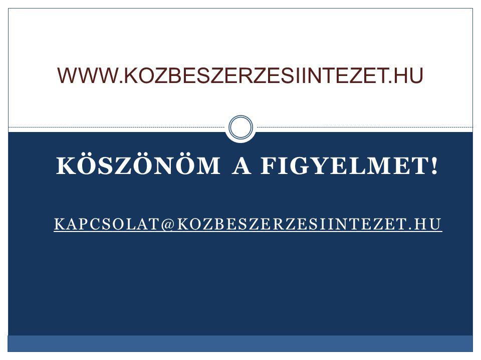 Köszönöm a figyelmet! kapcsolat@kozbeszerzesiintezet.hu