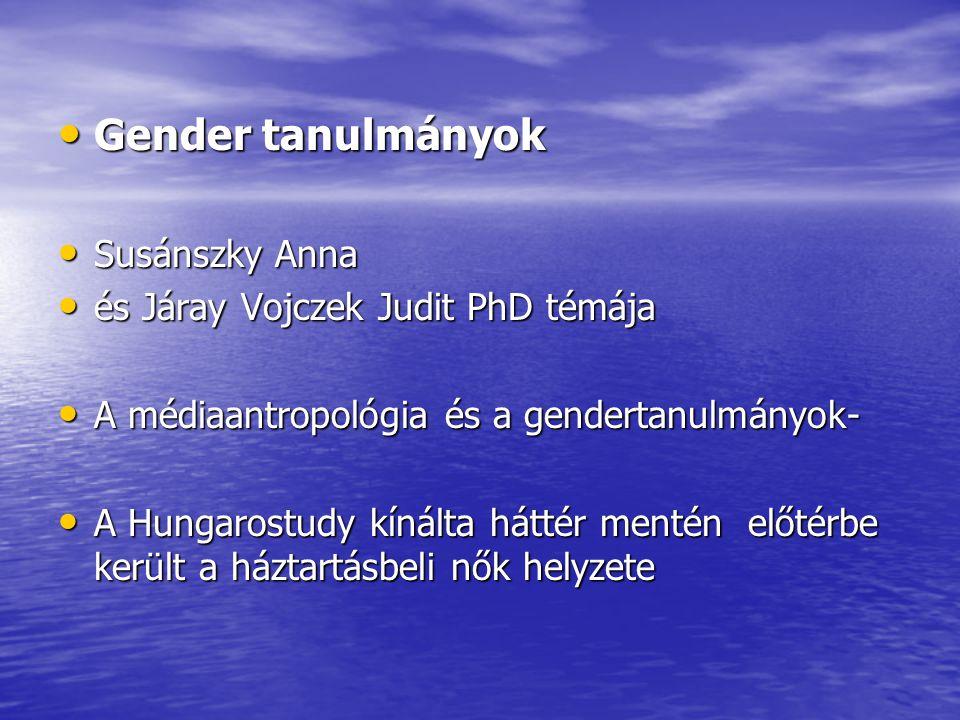 Gender tanulmányok Susánszky Anna és Járay Vojczek Judit PhD témája