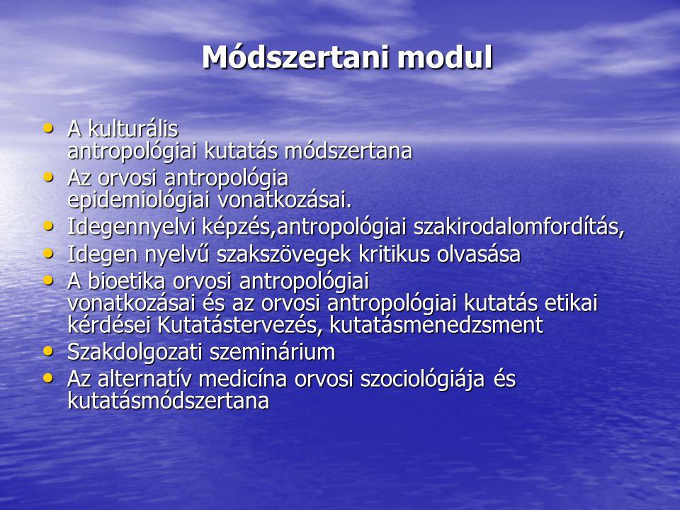 Módszertani modul A kulturális antropológiai kutatás módszertana