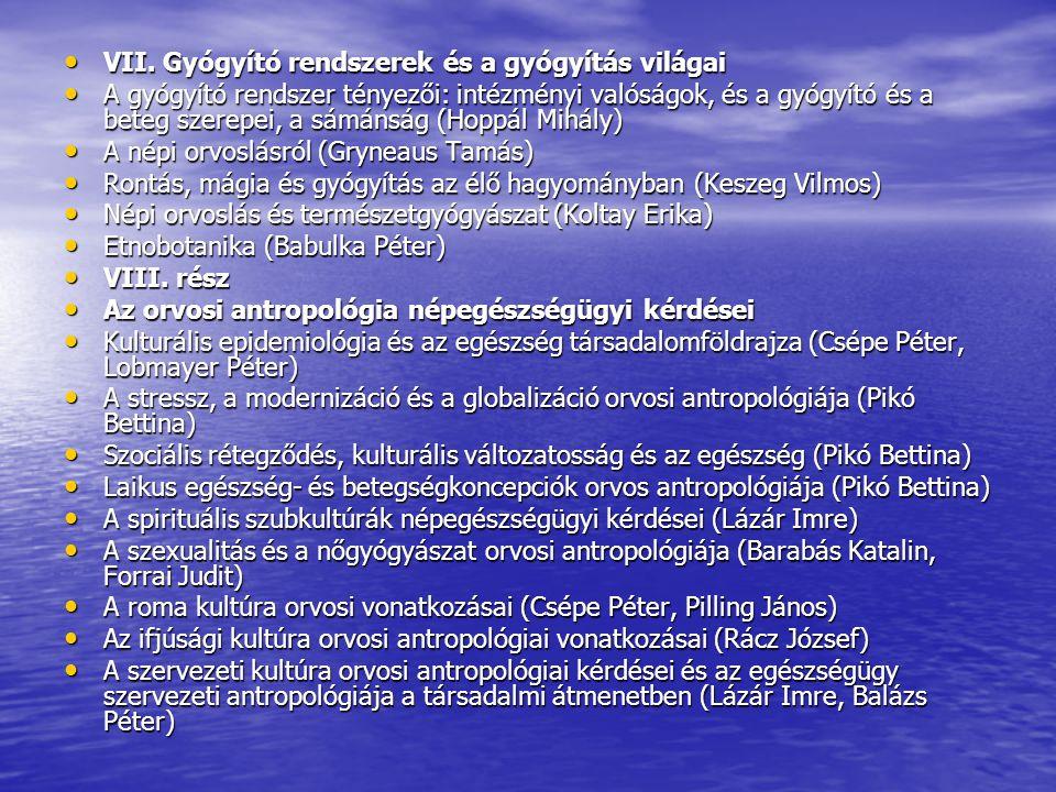 VII. Gyógyító rendszerek és a gyógyítás világai