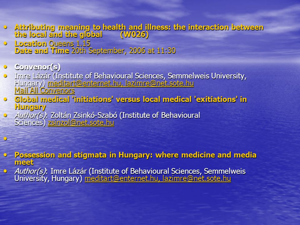 Attributing meaning to health and illness: the interaction between the local and the global (W026)