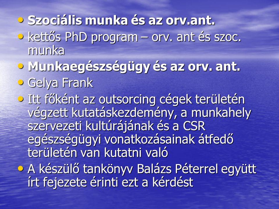 Szociális munka és az orv.ant.