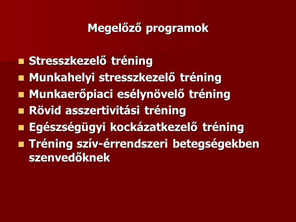 Megelőző programok Stresszkezelő tréning. Munkahelyi stresszkezelő tréning. Munkaerőpiaci esélynövelő tréning.