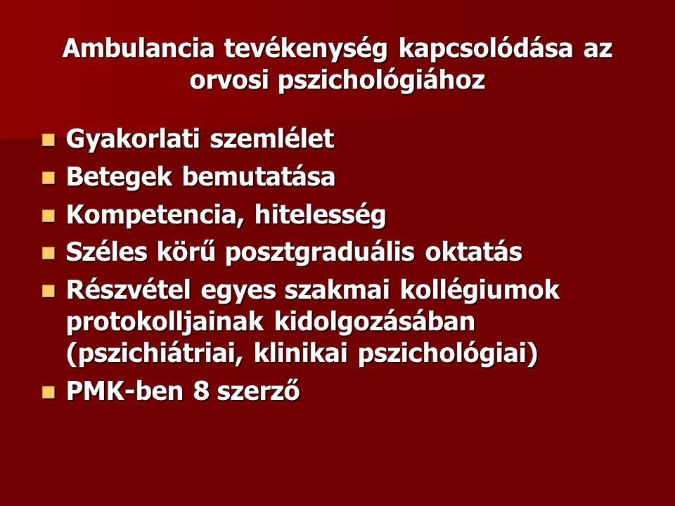 Ambulancia tevékenység kapcsolódása az orvosi pszichológiához