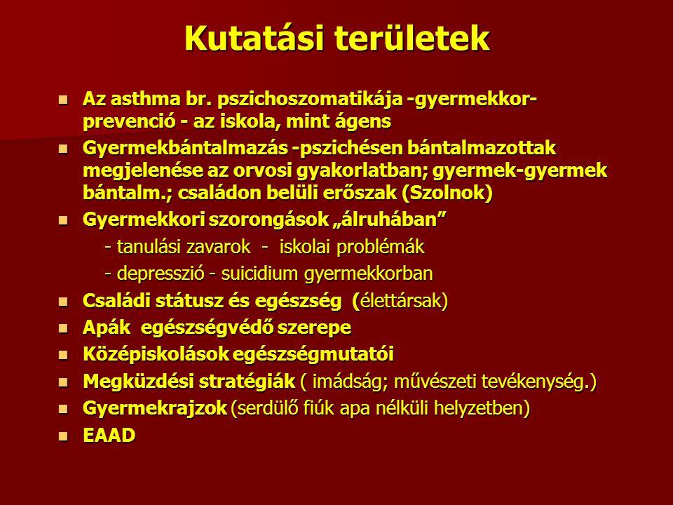 Kutatási területek Az asthma br. pszichoszomatikája -gyermekkor-prevenció - az iskola, mint ágens.