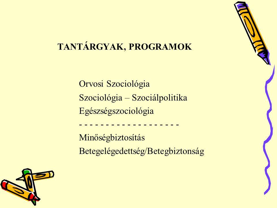 Orvosi Szociológia TANTÁRGYAK, PROGRAMOK Szociológia – Szociálpolitika