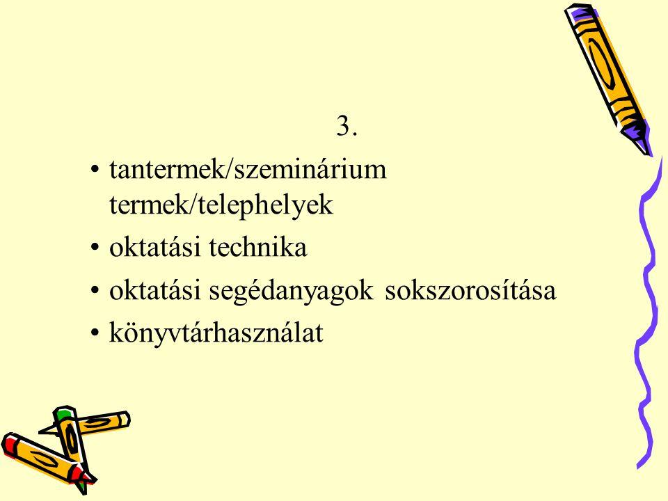 3. tantermek/szeminárium termek/telephelyek. oktatási technika. oktatási segédanyagok sokszorosítása.