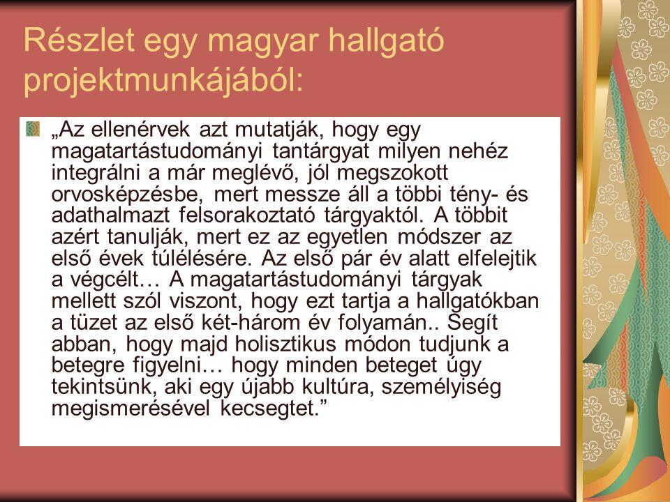Részlet egy magyar hallgató projektmunkájából: