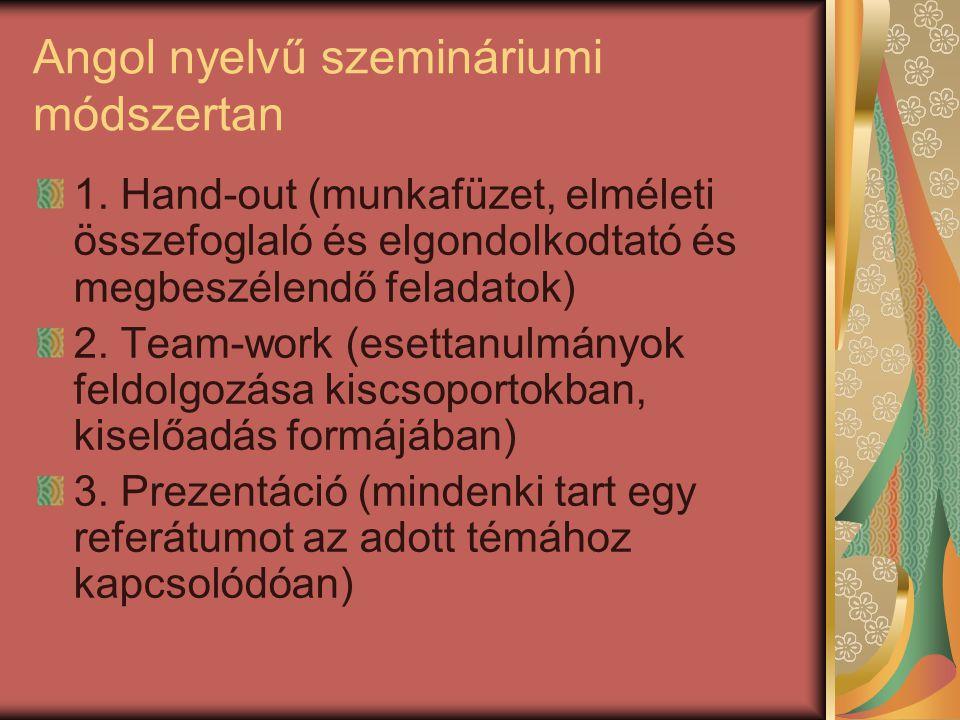 Angol nyelvű szemináriumi módszertan