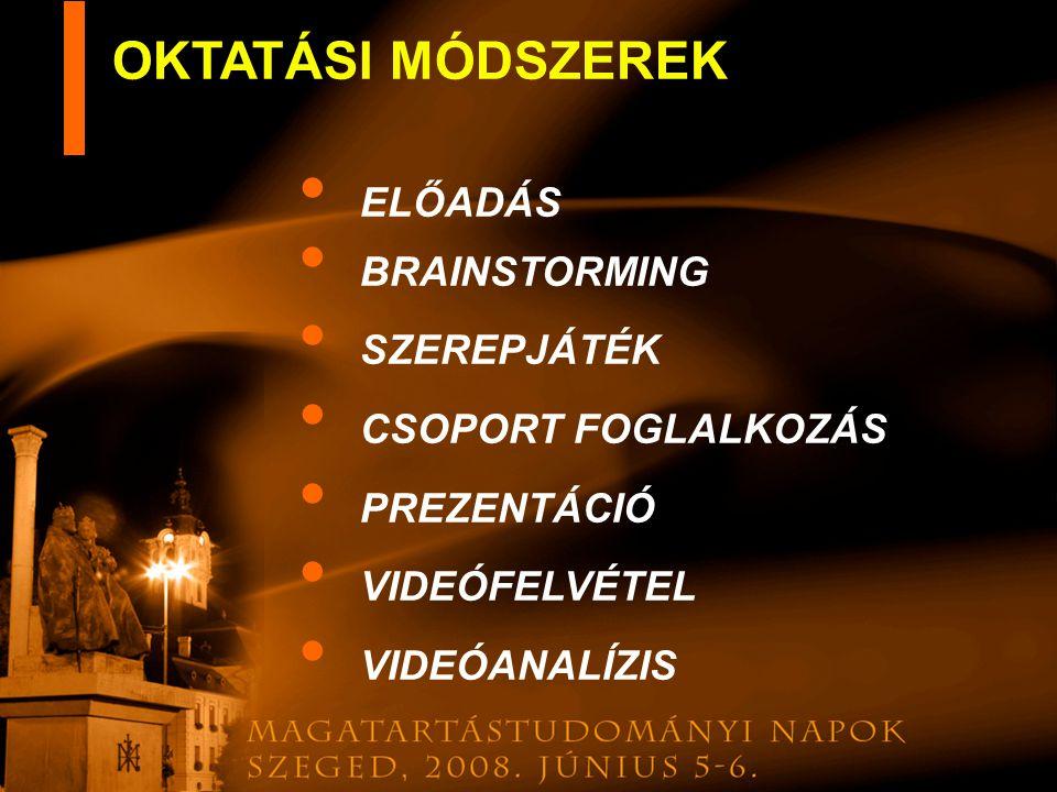 OKTATÁSI MÓDSZEREK ELŐADÁS BRAINSTORMING SZEREPJÁTÉK