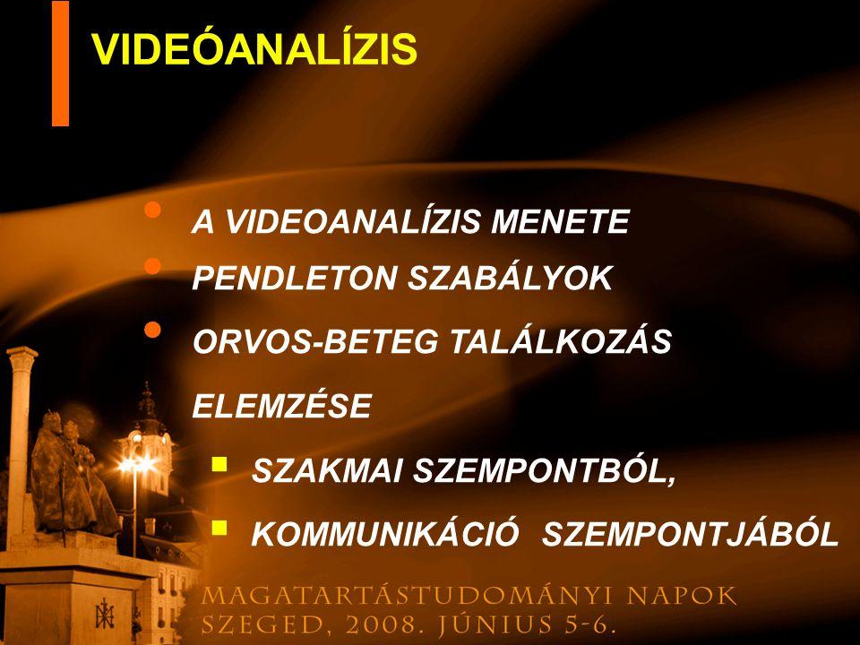 VIDEÓANALÍZIS A VIDEOANALÍZIS MENETE PENDLETON SZABÁLYOK
