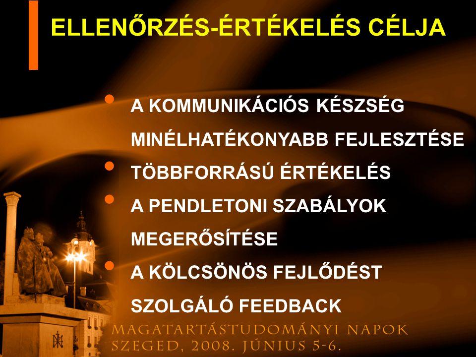ELLENŐRZÉS-ÉRTÉKELÉS CÉLJA