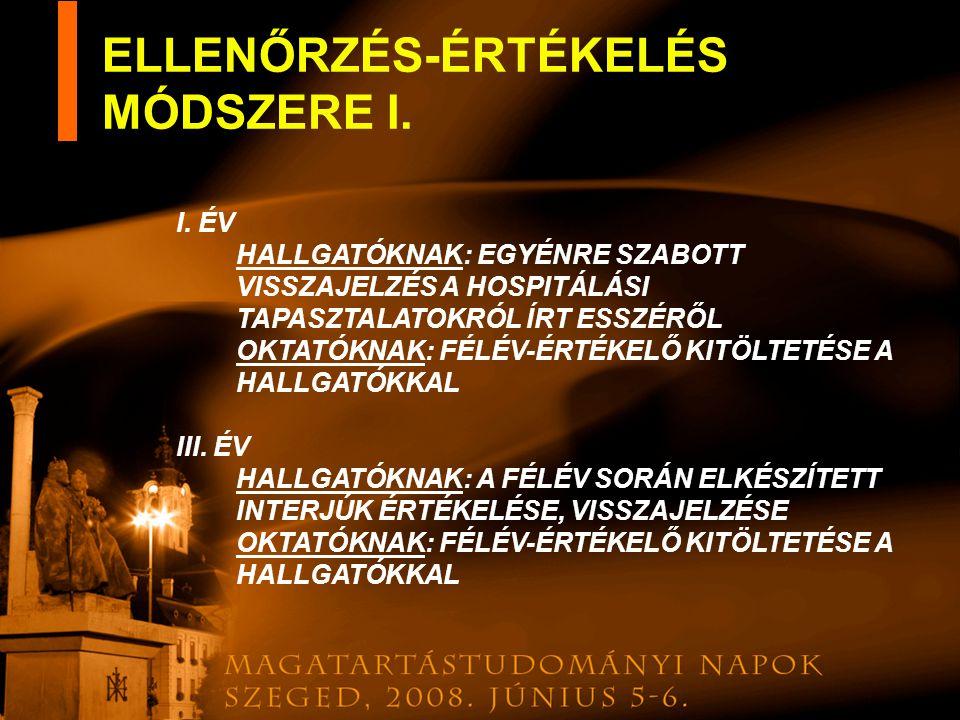 ELLENŐRZÉS-ÉRTÉKELÉS MÓDSZERE I.