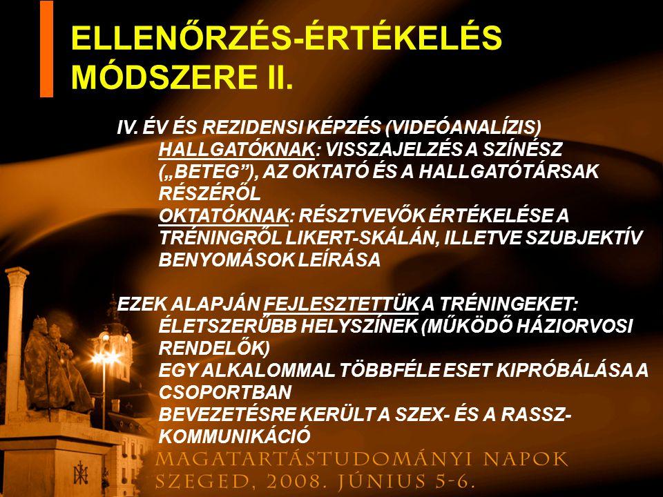 ELLENŐRZÉS-ÉRTÉKELÉS MÓDSZERE II.