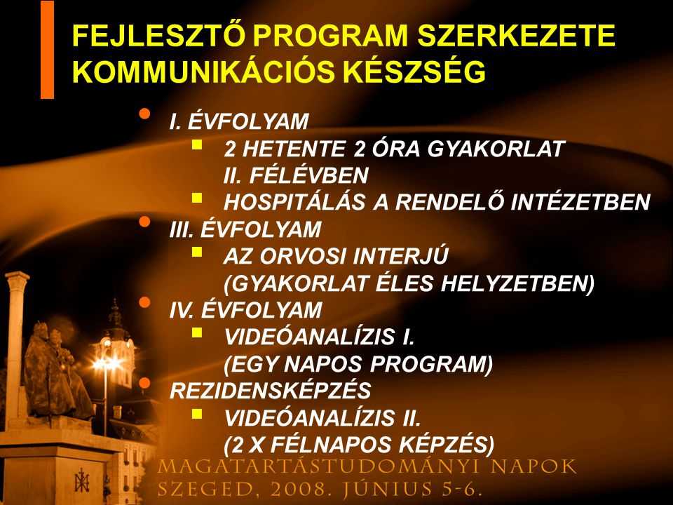 FEJLESZTŐ PROGRAM SZERKEZETE KOMMUNIKÁCIÓS KÉSZSÉG