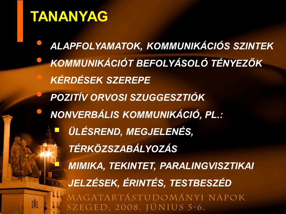 TANANYAG ALAPFOLYAMATOK, KOMMUNIKÁCIÓS SZINTEK