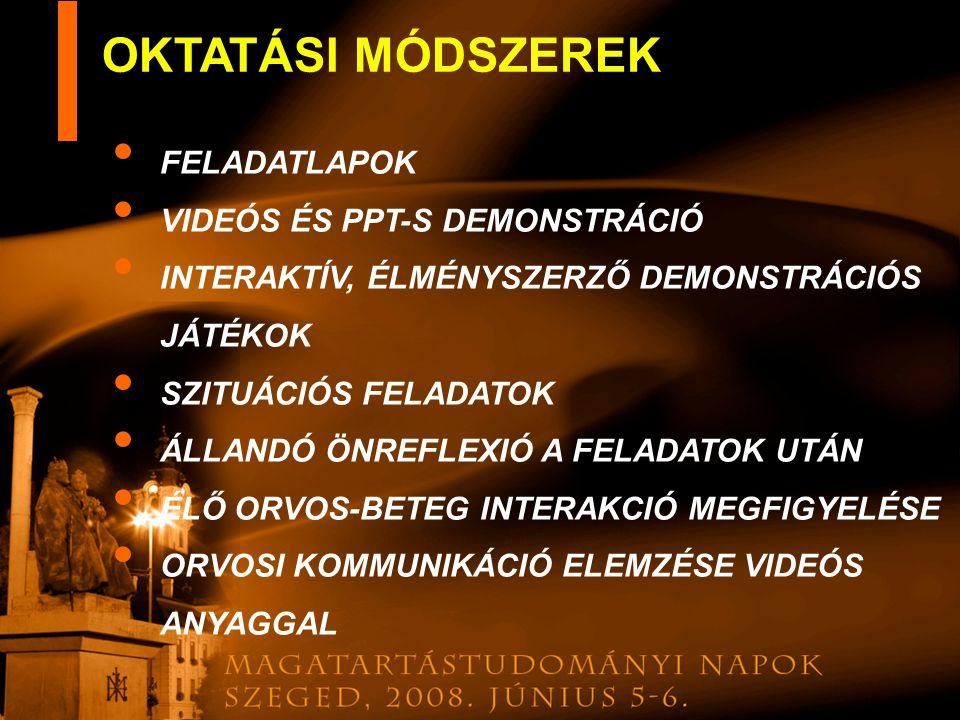 OKTATÁSI MÓDSZEREK FELADATLAPOK VIDEÓS ÉS PPT-S DEMONSTRÁCIÓ