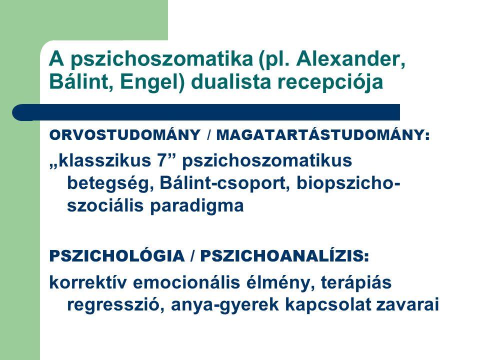 A pszichoszomatika (pl. Alexander, Bálint, Engel) dualista recepciója