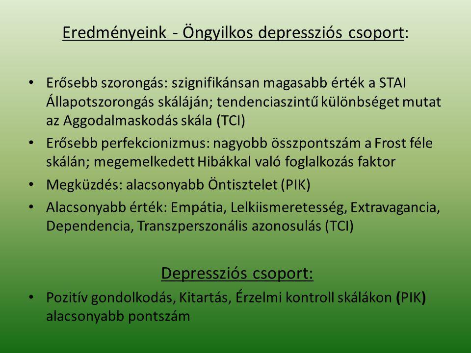 Eredményeink - Öngyilkos depressziós csoport: