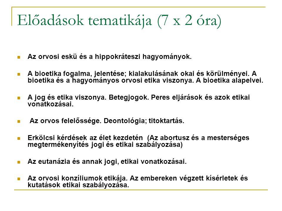 Előadások tematikája (7 x 2 óra)