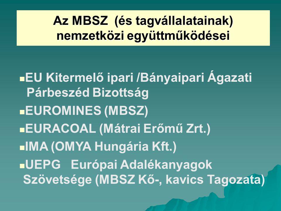 Az MBSZ (és tagvállalatainak) nemzetközi együttműködései