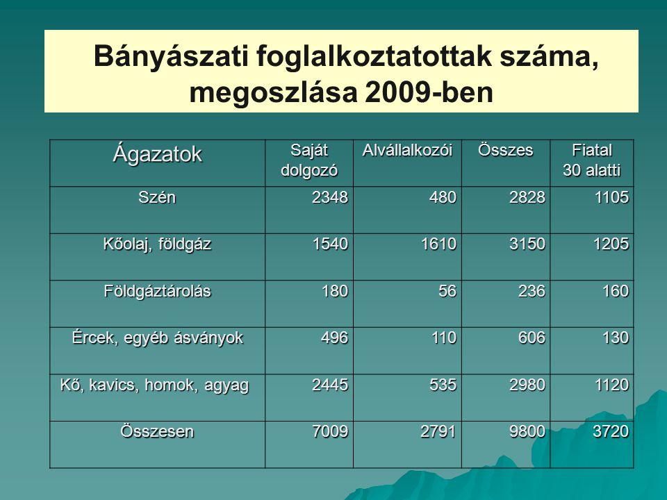 Bányászati foglalkoztatottak száma, megoszlása 2009-ben