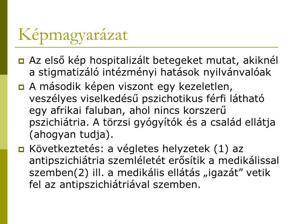 Képmagyarázat Az első kép hospitalizált betegeket mutat, akiknél a stigmatizáló intézményi hatások nyilvánvalóak.
