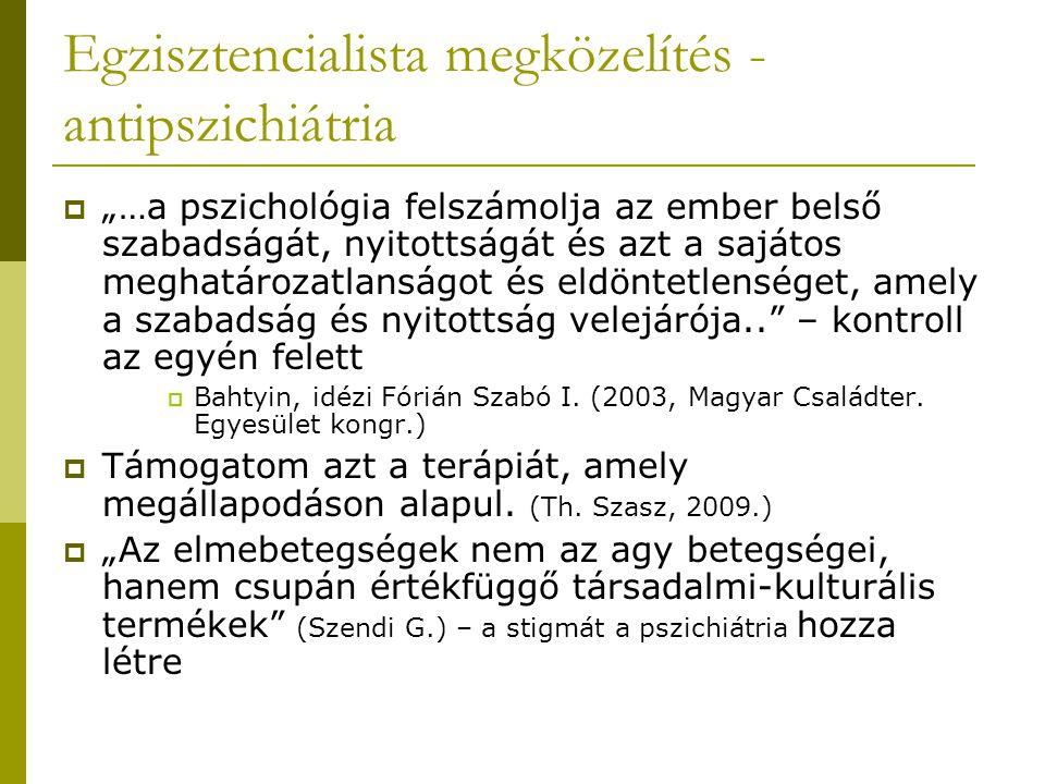 Egzisztencialista megközelítés - antipszichiátria