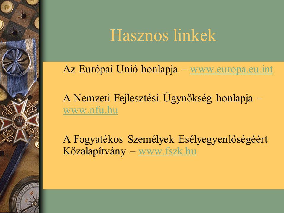 Hasznos linkek Az Európai Unió honlapja – www.europa.eu.int